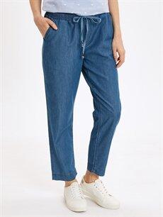 %100 Pamuk Jean Yüksek Bel Standart Beli Lastikli Slim Jean Pantolon