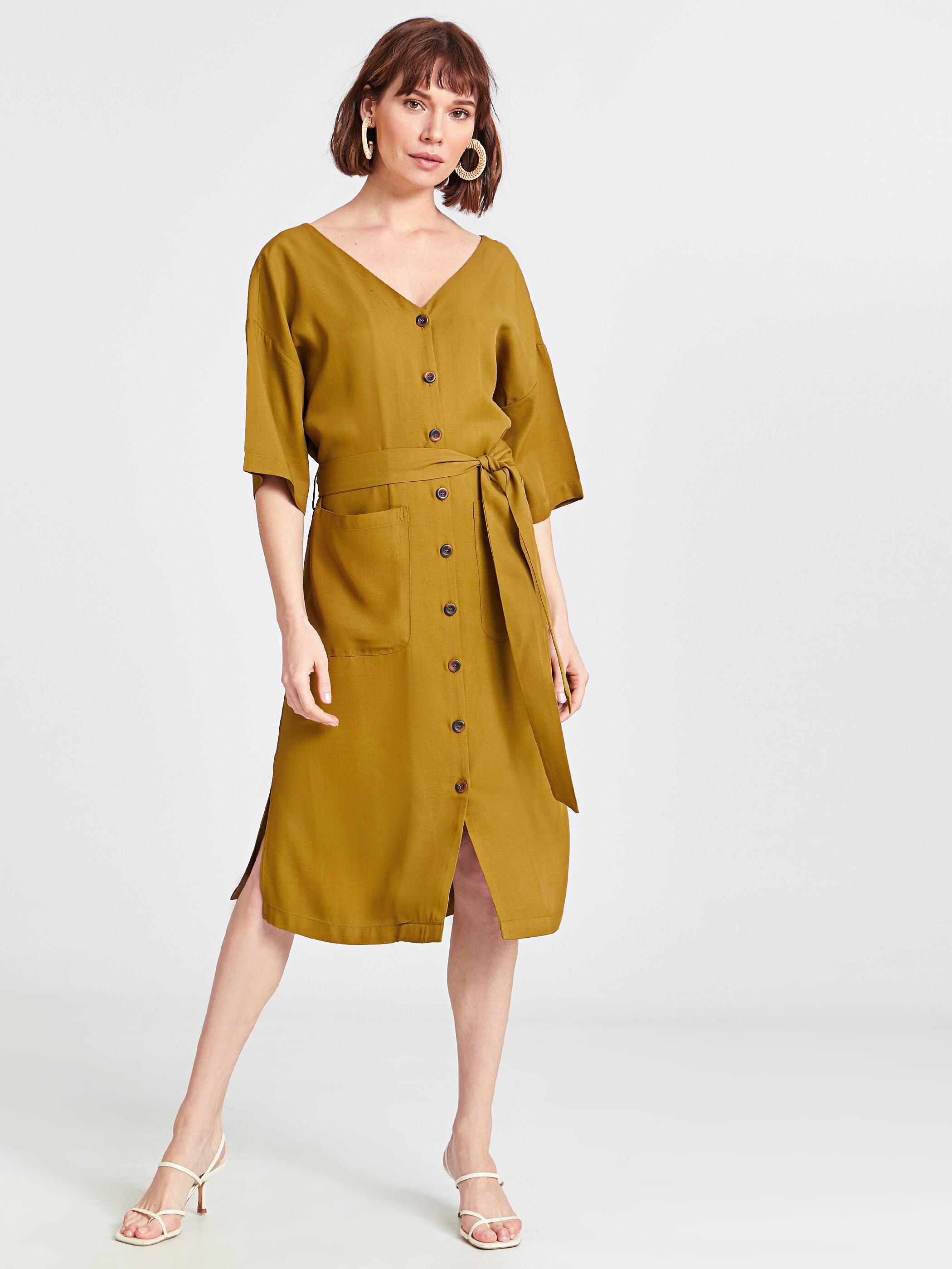 Beli Bağlama Detaylı Viskon Elbise -9S6552Z8-H7S