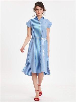 d5356cb0d8cea Kadın Kemerli Çizgili Poplin Gömlek Elbise - Ürün Bulucu