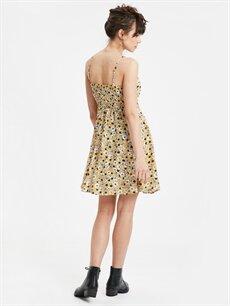 %100 Viskoz Diz Üstü Desenli Kolsuz Desenli Askılı Kloş Elbise