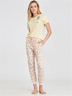 Pembe Pamuklu Desenli Pijama Takımı 9S9470Z8 LC Waikiki