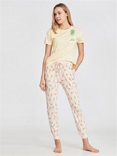 %100 Pamuk  Pamuklu Desenli Pijama Takımı