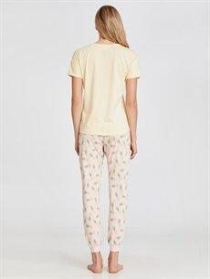 Kadın Pamuklu Desenli Pijama Takımı