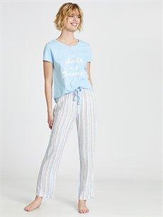 %100 Viskoz Standart Pijamalar Yazı Baskılı Çizgili Pijama Takımı