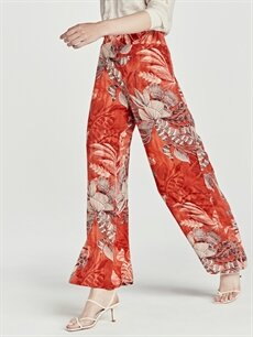 %100 Viskoz Yüksek Bel Bol Geniş Paça Lastikli Bel Pantolon Beli Lastikli Desenli Palazzo Pantolon