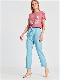 %100 Lyocell Yüksek Bel Bol Lastikli Bel Pantolon Tencel Kumaş Beli Lastikli Salaş Pantolon