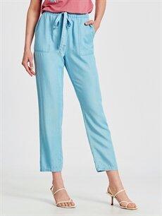 Kadın Tencel Kumaş Beli Lastikli Salaş Pantolon
