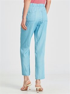 %100 Lyocell Tencel Kumaş Beli Lastikli Salaş Pantolon