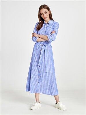 Çizgili Poplin Gömlek Elbise - LC WAIKIKI