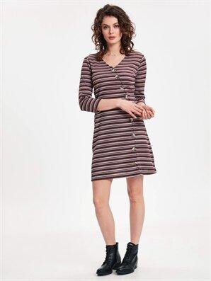 Kruvaze Düğme Detaylı Çizgili Esnek Elbise - LC WAIKIKI