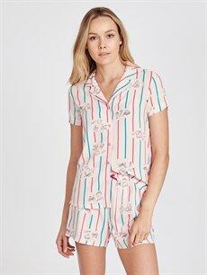 Pembe Baskılı Şortlu Pijama Takımı 9SI222Z8 LC Waikiki