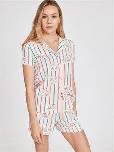 %100 Viskoz  Baskılı Şortlu Pijama Takımı
