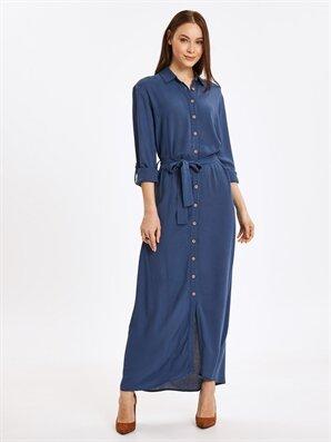 0547a31f54a0d Crinkle Uzun Gömlek Elbise -9SI540Z8-PAL - LC Waikiki