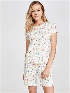 Ekru Pamuklu Şortlu Pijama Takımı 9SI541Z8 LC Waikiki