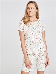 %100 Pamuk  Pamuklu Şortlu Pijama Takımı