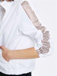 %100 Polyester Kolları Şeritli Kapüşonlu İnce Mont