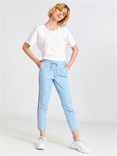 %100 Pamuk Normal Bel Standart Jean Şerit Detaylı Beli Lastikli Jean Havuç Pantolon