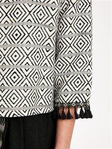 %58 Pamuk %42 Polyester Kol Ucu Püskül Detaylı Desenli Ceket