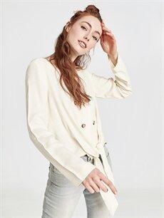 Kadın Beli Bağlama Detaylı Viskon Bluz