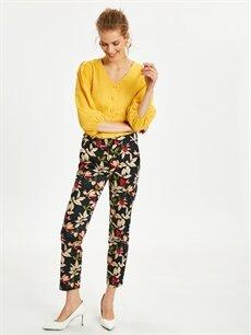 Siyah Çiçek Desenli Düz Paça Kumaş Pantolon 9SK291Z8 LC Waikiki