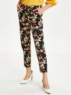 %66 Pamuk %31 Polyester %3 Elastan Yüksek Bel Esnek Standart Kumaş Pantolon Çiçek Desenli Düz Paça Kumaş Pantolon