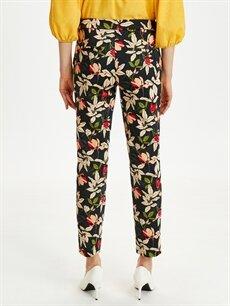 Kadın Çiçek Desenli Düz Paça Kumaş Pantolon