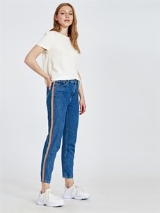 %100 Pamuk Yüksek Bel Bol Jean Şeritli Mom Jean Pantolon