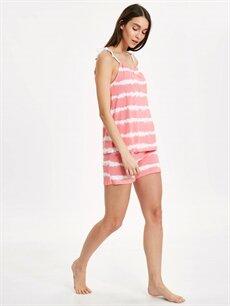 Beyaz Şortlu Batik Pijama Takımı 9SL528Z8 LC Waikiki