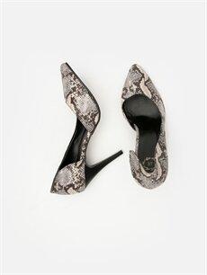 Tekstil malzemeleri Diğer malzeme (poliüretan)  Kadın Yılan Derisi Desenli Topuklu Ayakkabı