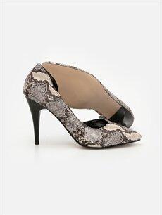 Kadın Kadın Yılan Derisi Desenli Topuklu Ayakkabı