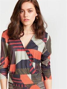 %96 Polyester %4 Elastan Bluz Kruvaze Yaka Desenli Esnek Bluz
