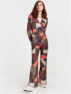 Kadın Kruvaze Yaka Desenli Esnek Bluz
