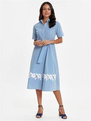 dcdb18cd26c68 Kadın Fisto Detaylı Çizgili Poplin Gömlek Elbise - Ürün Bulucu