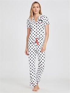 Siyah Betty Boop Baskılı Puantiyeli Pamuklu Pijama Takımı 9SN538Z8 LC Waikiki