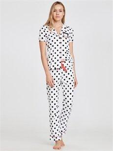 %100 Pamuk  Betty Boop Baskılı Puantiyeli Pamuklu Pijama Takımı