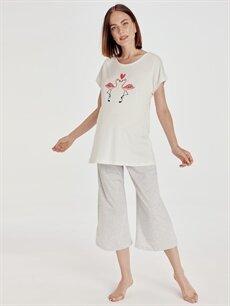 Gri Baskılı Pamuklu Hamile Pijama Takımı 9SN562Z8 LC Waikiki