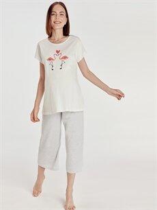 %100 Pamuk İç Giyim Baskılı Pamuklu Hamile Pijama Takımı