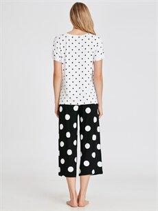 Kadın Mickey Mouse Baskılı Puantiyeli Pijama Takımı
