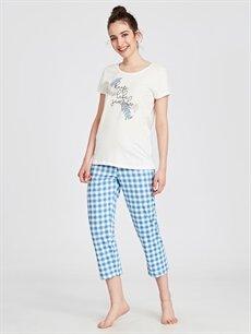 %100 Pamuk Standart Pijamalar Pamuklu Ekose Pijama Takımı