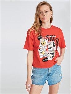 Kırmızı Pamuklu Mickey Mouse Baskılı Tişört 9SR139Z8 LC Waikiki