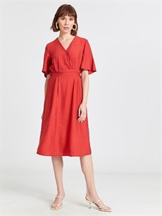 %13 Polyester %87 Viskoz Diz Altı Düz Kısa Kol Kruvaze Yaka Kloş Elbise
