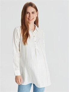 %98 Viskoz %2 Metalik iplik Gömlek, Bluz ve Tunik Işıltı Detaylı Hamile Bluz