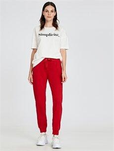 %42 Pamuk %58 Polyester Standart Kırmızı Pantolon