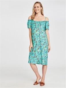 %100 Viskoz Elbise Yakası Fırfırlı Viskon Hamile Elbise