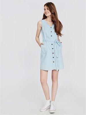 Önü Düğmeli Kuşaklı Mini Jean Elbise - LC WAIKIKI
