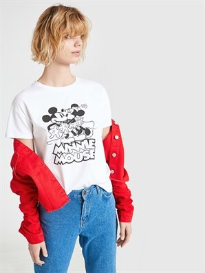 Mickey Mouse Baskılı Pamuklu Tişört Lc Waikiki Lcw 9ss261z8 – E5x – Optik Beyaz – 29.99 TL