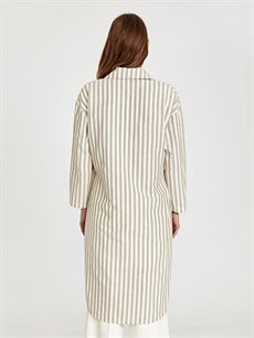Kadın Çizgili Pamuklu Ceket