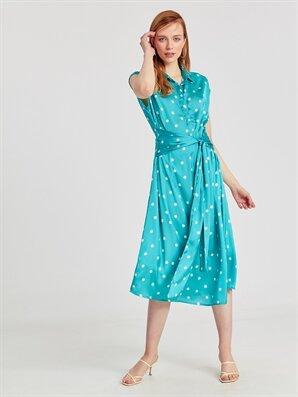 Beli Bağlama Detaylı Desenli Saten Elbise - LC WAIKIKI