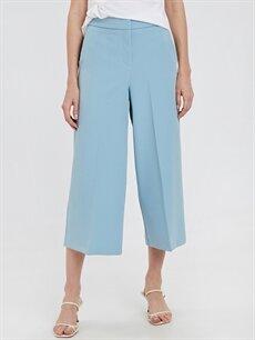 %87 Polyester %13 Elastan Normal Bel Esnek olmayan Bol İspanyol Paça Pantolon Bilek Boy İspanyol Paça Pantolon
