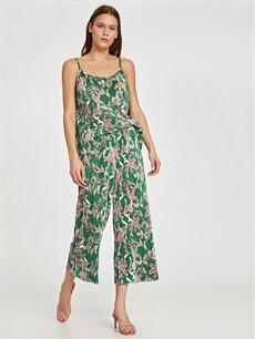 Yeşil Beli Lastikli Desenli Pilili Pantolon 9ST537Z8 LC Waikiki